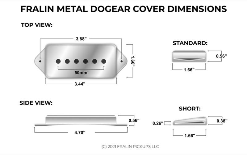Metal Dogear Dimensions for Fralin Pickups