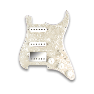 Fralin HSS Prewired Pickguard with White Covers and Polished Nickel Cover