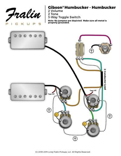 Gibson Les Paul Wiring Diagram With 3-Conductor Lead Fralin Pickups