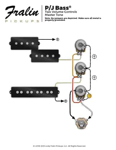 Wiring Diagrams by Lindy Fralin - Guitar And Bass Wiring Diagrams | Bass 2 Pick Up Guitar Wiring Diagram |  | Fralin Pickups
